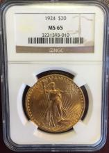 1924 MS 65 NCG $ 20 Gold Saint Gauden Double Eagle
