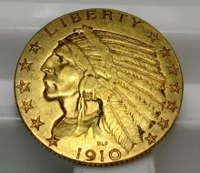 1910 s $ 5 Gold Indian Half Eagle
