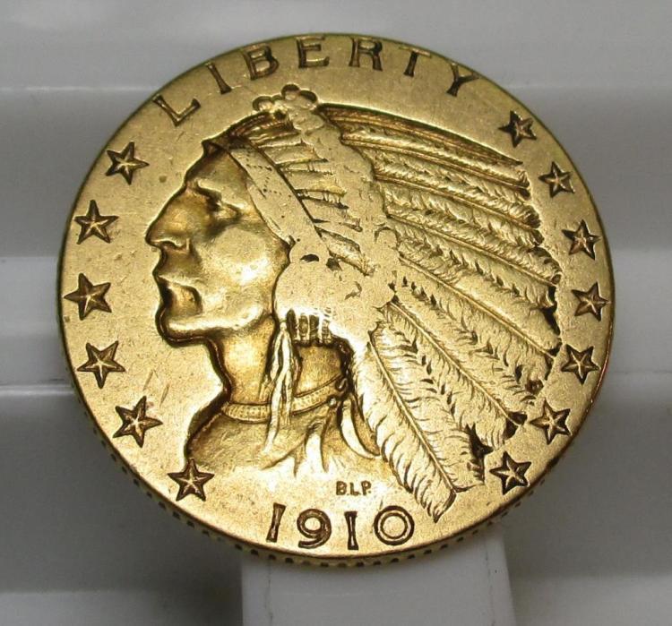 1910 $5 Gold Indian Half Eagle
