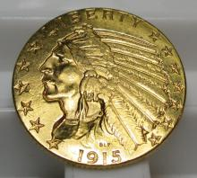 1915 $ 5 Gold Indian Half Eagle