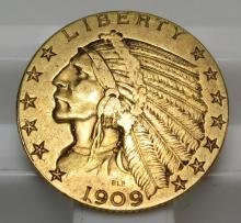 1909 D $ % Gold Indian Half Eagle