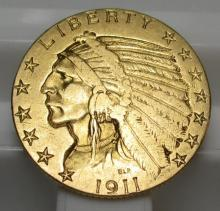 1911 S $ 5 Gold Indian Half Eagle