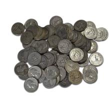 2 Rolls - Mixed Type and Date Half Dollars 90%