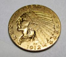 1912 S $ 5 FIVE Gold Indian Half Eagle