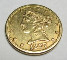 1887 S $5 FIVE Gold Liberty Half Eagle