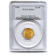 1906 $ 2.5 Gold Liberty MS 64 PCGS