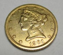1901 S $5 FIVE Gold Liberty Half Eagle
