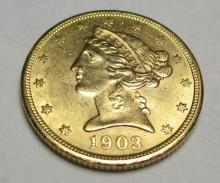 1903 s $5 FIVE Gold Liberty Half Eagle
