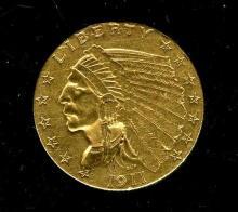 1911 $ 2.5 Gold Indian Quarter Eagle