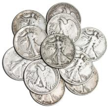 (10) Walking Liberty Half Dollars-90%-$5 Face