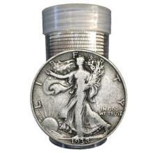 (20) Walking Liberty Half Dollars in Roll -90%