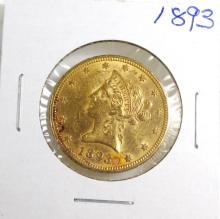 1893 $ 10 Gold Liberty