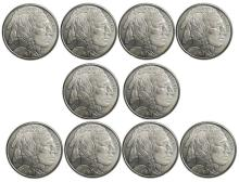 (10) Buffalo Design Silver Rounds 1 oz. each
