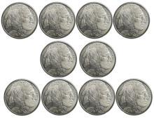 (10) Silver Buffalo Design Rounds 1 oz Each