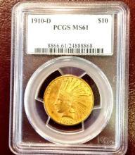 1910 D MS 61 $ 10 Gold Indian PCGS