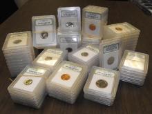 Lot of (50) INB Slabbed MS 60-BU Coins
