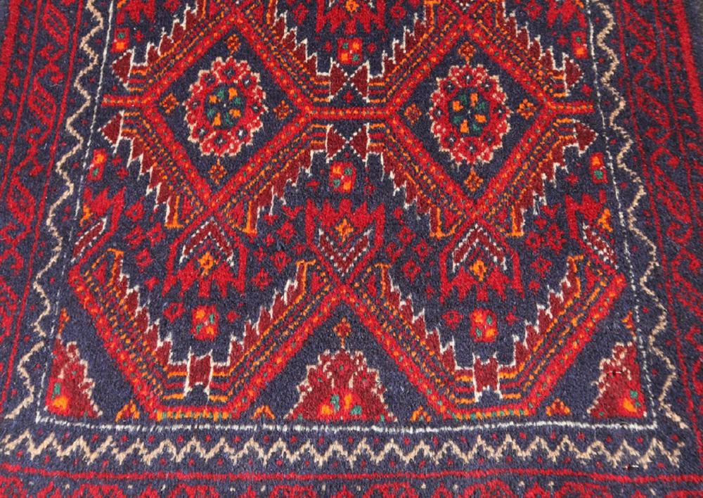 Unreserved Hand Knotted Persian Tribal Balouch Wool Size(cm): 266 X 59