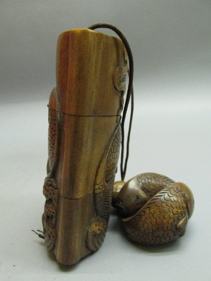 Japanese boxwood carved fishpattern inro pomander