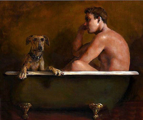 Lot - NUDE MALE BATH Hand Painted Portrait Art Oil Painting On Canvas No  Frame 36