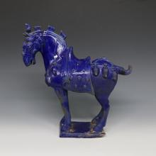 Chinese Song Dynasty Blue Glazed Porcelain Horse Statue