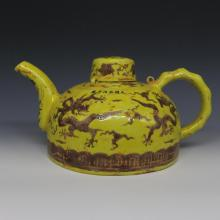 Chinese Ming Dynasty Yellow Glazed Porcelain Tea Pot