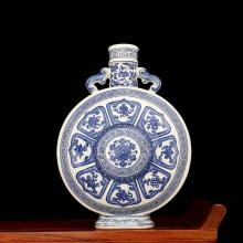 Chinese Qing Dynasty Blue White Glazed Porcelain Bottle