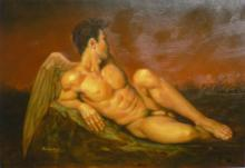 Hand-painted Portrait Oil Painting Wall Decor Art Canvas,Angell NUDE MALE 24x36