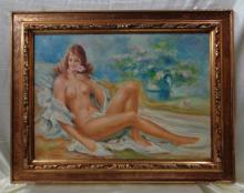 Bianji Lino 1950's Nude Woman Oil Painting w. Gold Antique Ornate Wood Frame