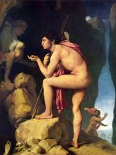 Huge Oil painting Ingres - Oedipus and the Sphynx Nude strong man canvas 36