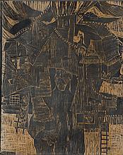 """Stefan Suberlak (1928 - 1994) """"Village"""" and """"Hosts II"""" - Board Woodcut"""