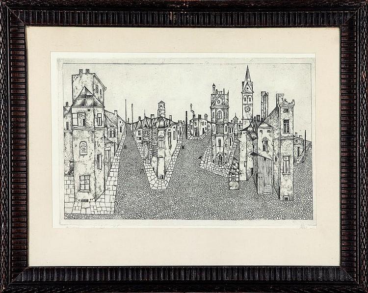 Leszek Rózga, Misteczko akwaforta/papier, 34 x 50