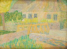 Marek Oberländer (1922 - 1978) Landscape with a cottage