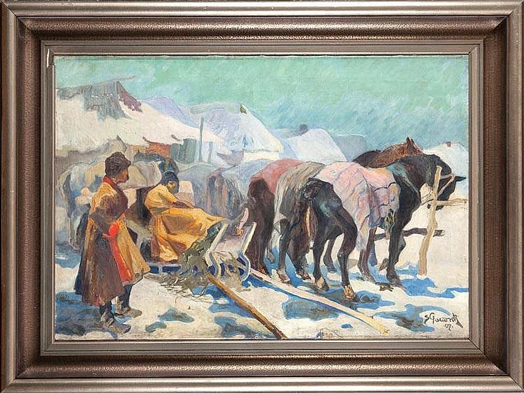 Stanisław Paciorek SCENA HUCULSKA, 1907 R.