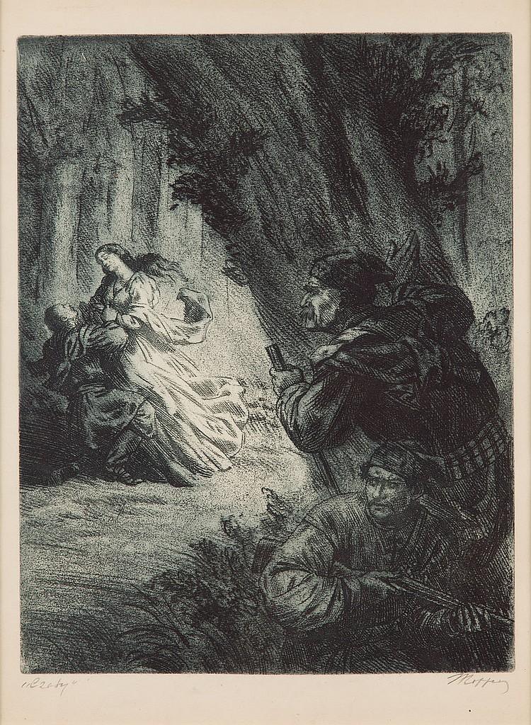 Jerzy Hoppen (1891 - 1969) Spying' (illustration for ballad by Adam Mickiewicz), 1955