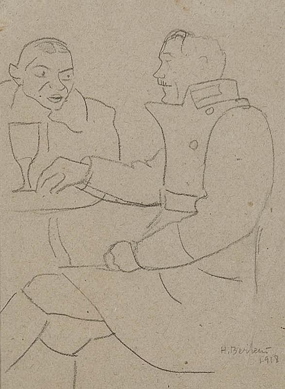 Henryk Berlewi, DWAJ MEZCZYZMI PRZY STOLE, 1918 R.