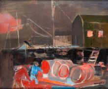 "Rajmund Kanelba (Kanelbaum), (1897 - 1960), ""Old wharf"""