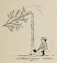 Zbigniew Lengren (1919 - 2003), Unlucky lumberjack, satirical illustration, 90s of the 20th Century