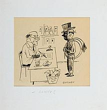 """Zbigniew Lengren (1919 - 2003), """"- Profession?"""", satirical illustration, 90s of the 20th Century"""