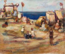 """Leon Weissberg (1893 - 1943), On the beach (""""La petite plage au drapeau rouge""""), circa 1933"""