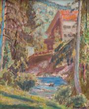 Czeslaw Rzepinski (1905 - 1995) Landscape with a house and a bridge