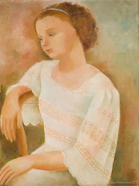 Alicja Hohermann (1902 - 1943) Portrait of Gizela - White Dress, 1938