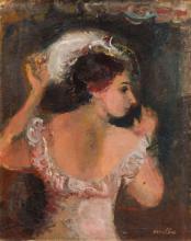 Rajmund Kanelba (Kanelbaum), (1897 - 1960), Portrait of lady in dress and hat , 1930