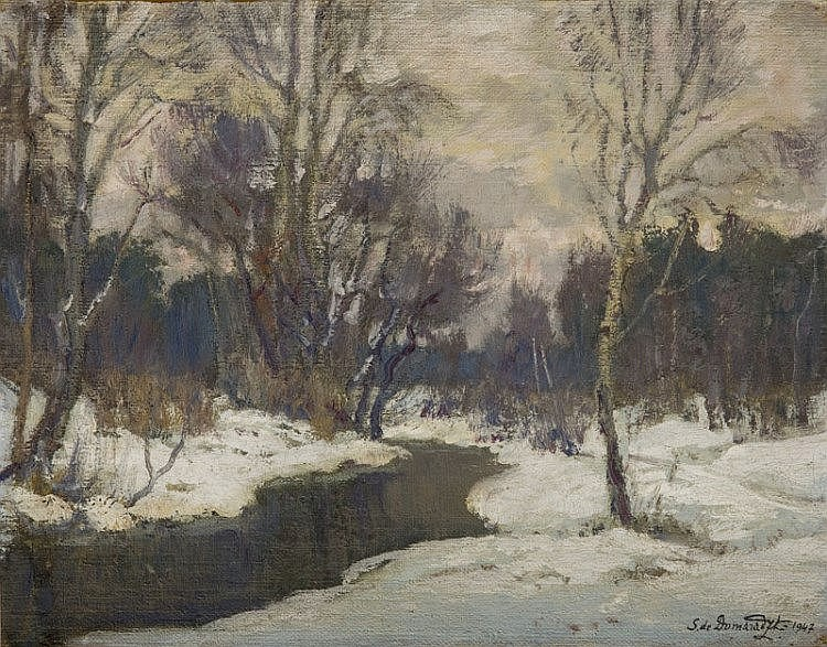 Stefan Domaradzki (1897 - 1983), Winter Landscape, 1947