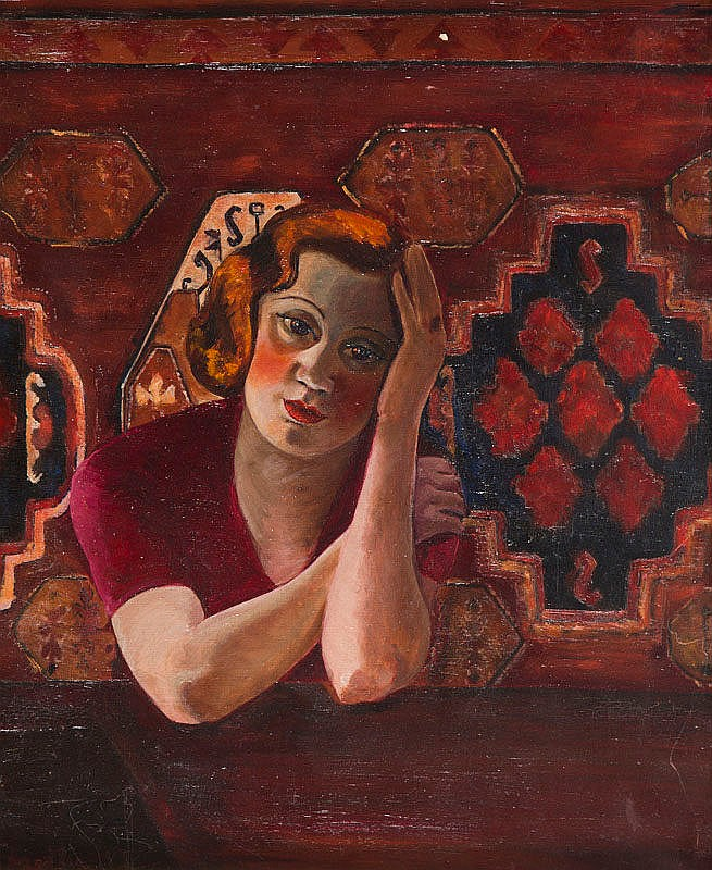 Wiktor Bart (1887 - 1954), Portrait of a Lady in Red, 1933