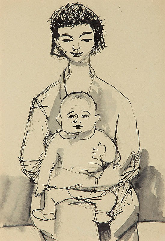 Andrzej Wroblewski (1927 - 1957) Teresa with Kitek [Composition no 642] Kitek on the reverse [Composition no 642], circa 1954