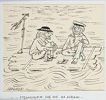 """Zbigniew Lengren (1919 - 2003) """"- ...Stesknilem sie juz za gorami..."""", satirical illustration"""