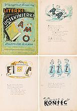 """Zbigniew Lengren (1919 - 2003) """"Literki uciekinierki"""", Set of 21 illustrations with cover for book Wladyslaw Mossocz, 1946"""