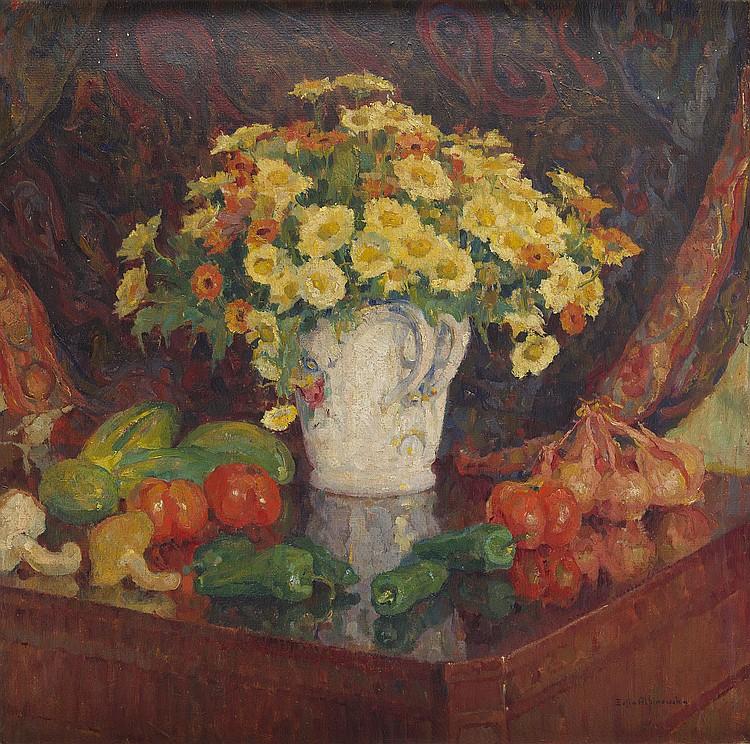 Zofia Albinowska-Minkiewiczowa (1886 - 1971) Flowers in a vase