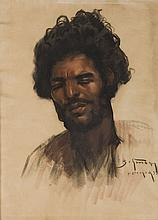 Abraham (Adolf) Behrmann (1876 - 1943) Study of a young man from Marrakesh, 1933