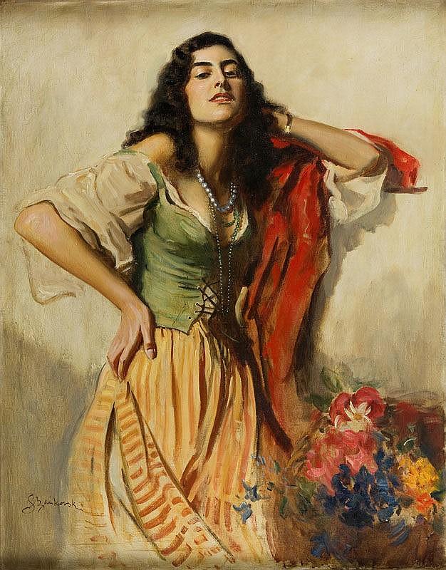 Boleslaw Szankowski (1873 - 1953) Gypsy Woman with Flowers